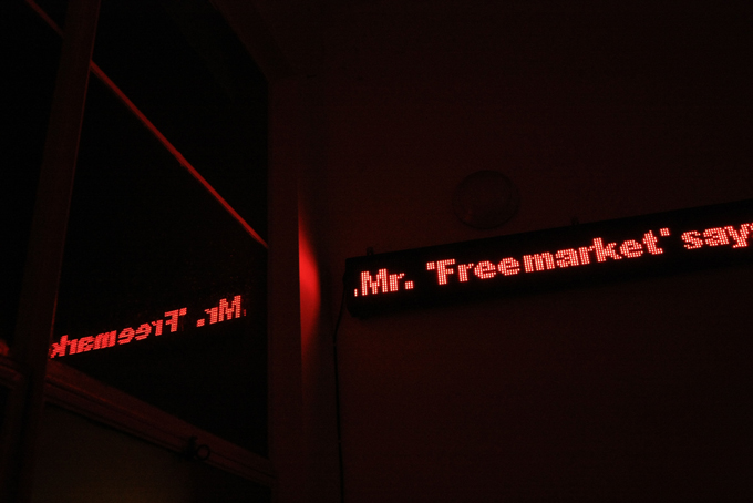 Mr Freemarket say, still image of moving LED Ticker Sign